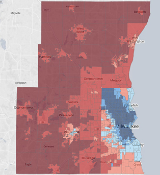 Democrats and Republicans are not only divided politically in metro Milwaukee, they occupy entirely different spaces. Among the nation?s 50 largest metro areas, Milwaukee had the second largest voting gap between its urban and suburban counties in the 2012 presidential race.