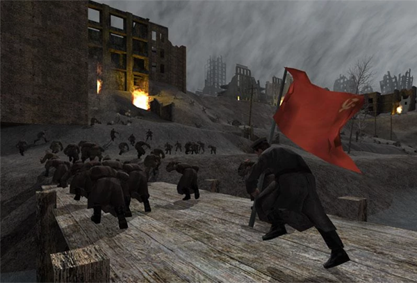 men charge, a red flag trailing behind them in the wind. this is a still from the game Call of Duty 1