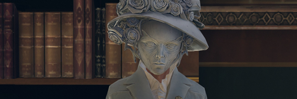 The dead eyed porcelain face of Lady Boyle, a character from Dishonored. She is wearing a large flower covered hat and a suit jacket (also in the same color of ash gray) and is standing in a library. This is a screenshot from Dishonored.