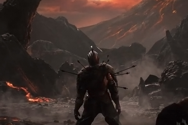 A man looks out over a hellish, volcanic looking landscape. He is peppered with arrows and on his knees. This is a piece of art from the Dark Souls series of video games.