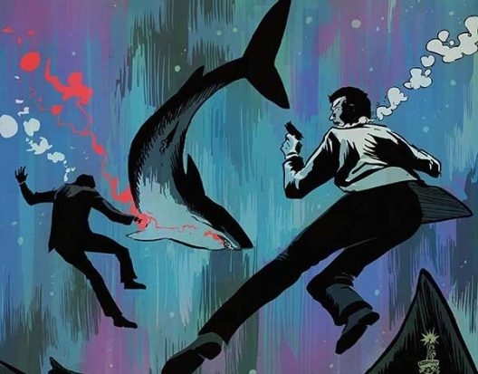 A sinking man in a white dinner jacket in the foreground, in the background there is another sinking man head ensconced in bubbles with a shark swimming away a trail of blood behind him. This is a screenshot of the comic Hammerhead