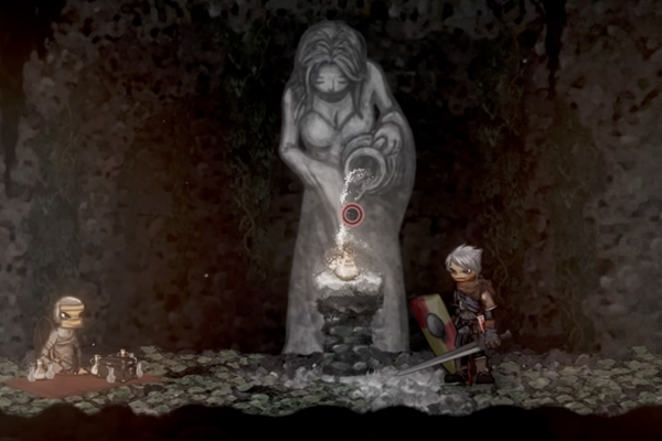 The Player character, with grey hair and a sword, looks across the play space towards a mummy like figure in front of a grey stone altar of a woman holding a jug and pouring downwards. This is a still from Ska Studios Salt and Sanctuary.