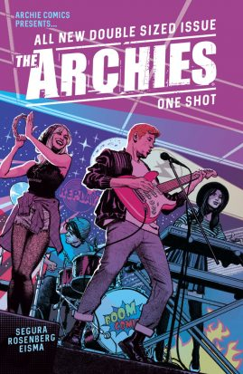 "Archie fronts a band with a red guitar, in the back Betty and Veronia play musical instruments and the text across the top reads ""The Archies"""