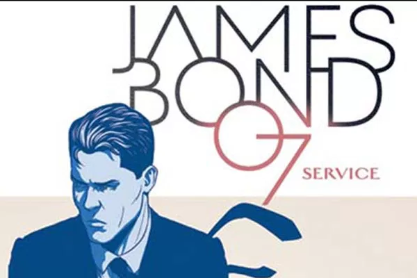 The cover art (cropped) from Kieron Gillen's one shot comic James Bond: Service. Bond is off center, in blue with his tie flapping behind him. The text, stylized and thin behind him, reads James Bond 07 service.