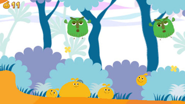 characters in a still from the PSP game LocoRoco. They are small green floating owl-like creatures over a simplistic background and orange bean-bag looking dudes on the ground