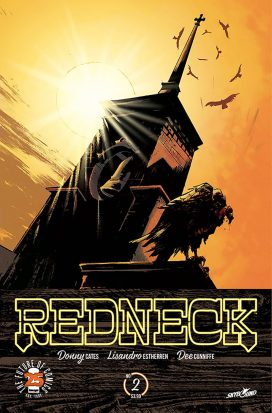 "A steeple of a church, beset by carrion birds and lit from behind by a yellow sun. The text along the bottom reads ""Redneck"""