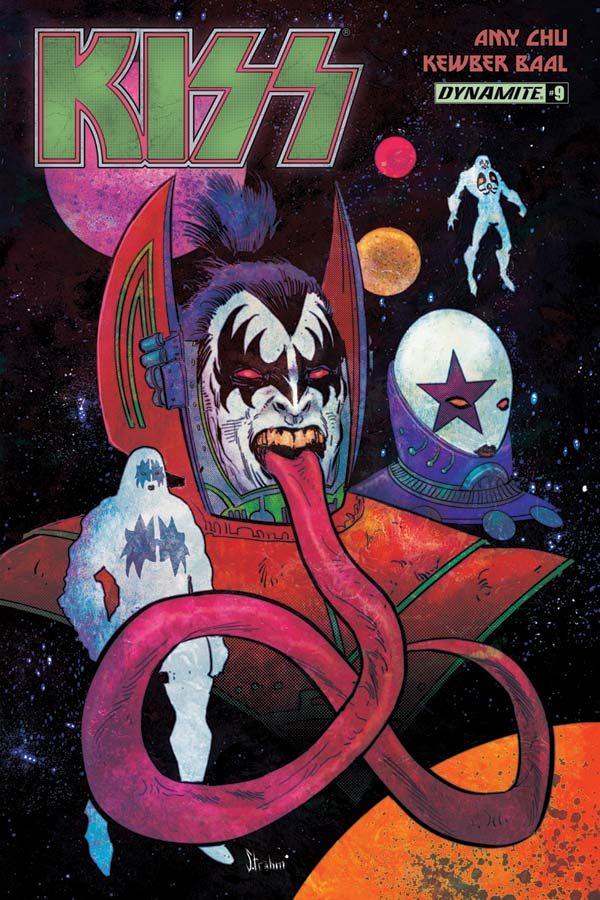 Gene Simmons, illustrated, with red devil wings and a long purple red tongue. This is the cover for Kiss #9