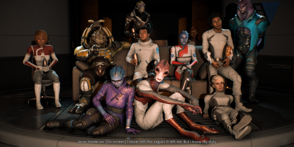 The crew of Mass Effect Andromeda get together on the couch to watch a movie in the culmination of the quest Movie night.