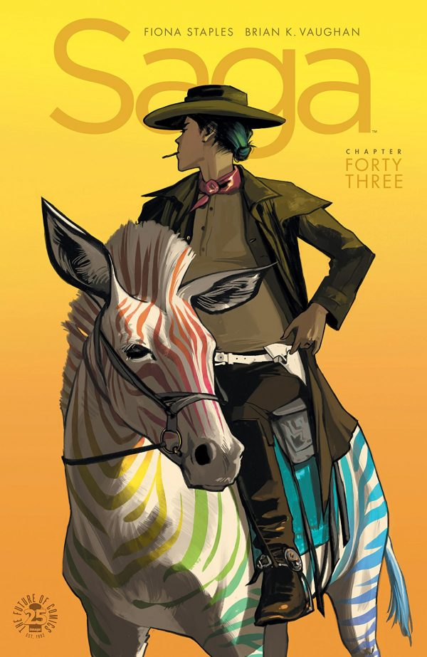 "A woman, in old west garb and with a cigarette in her mouth, looks out into the inky orange backdrop away from the camera. She is riding a multi-colored zebra, each of its stripes in a resplendent rainbow. Above her head is the word ""Saga."" This is the cover art for Saga 43."