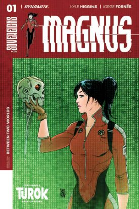 "A black haired woman in a skin tight red and black colorblocked body suit, hair artfully disheveled in a high bun holding a cyborg head, wires falling from its grey skull. It has a feel of any performance of Hamlet where the actor goes ""alas poor York I knew him well."" The text above her head reads ""Magnus."" This is the cover for Magnus #1."