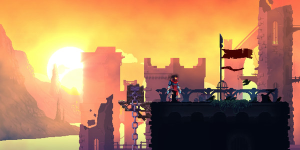 A crumbling ruin lit in orange in the back, a lone red figure stands on a dark tower with a single flag. This is a still from the game Dead Cells.