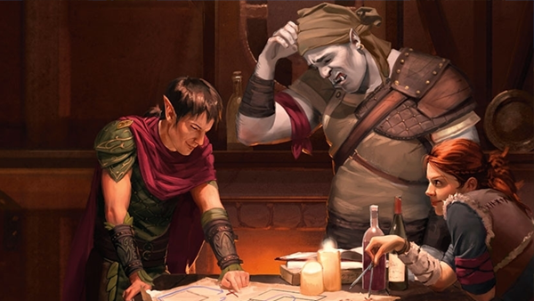A red cloaked elf, a large blue man with pointed ears and a long cap, and a red haired woman sit at a table staring down confusedly at a map, the edges held down by lit candles. This is a promotional image for Dungeons and Dragons.