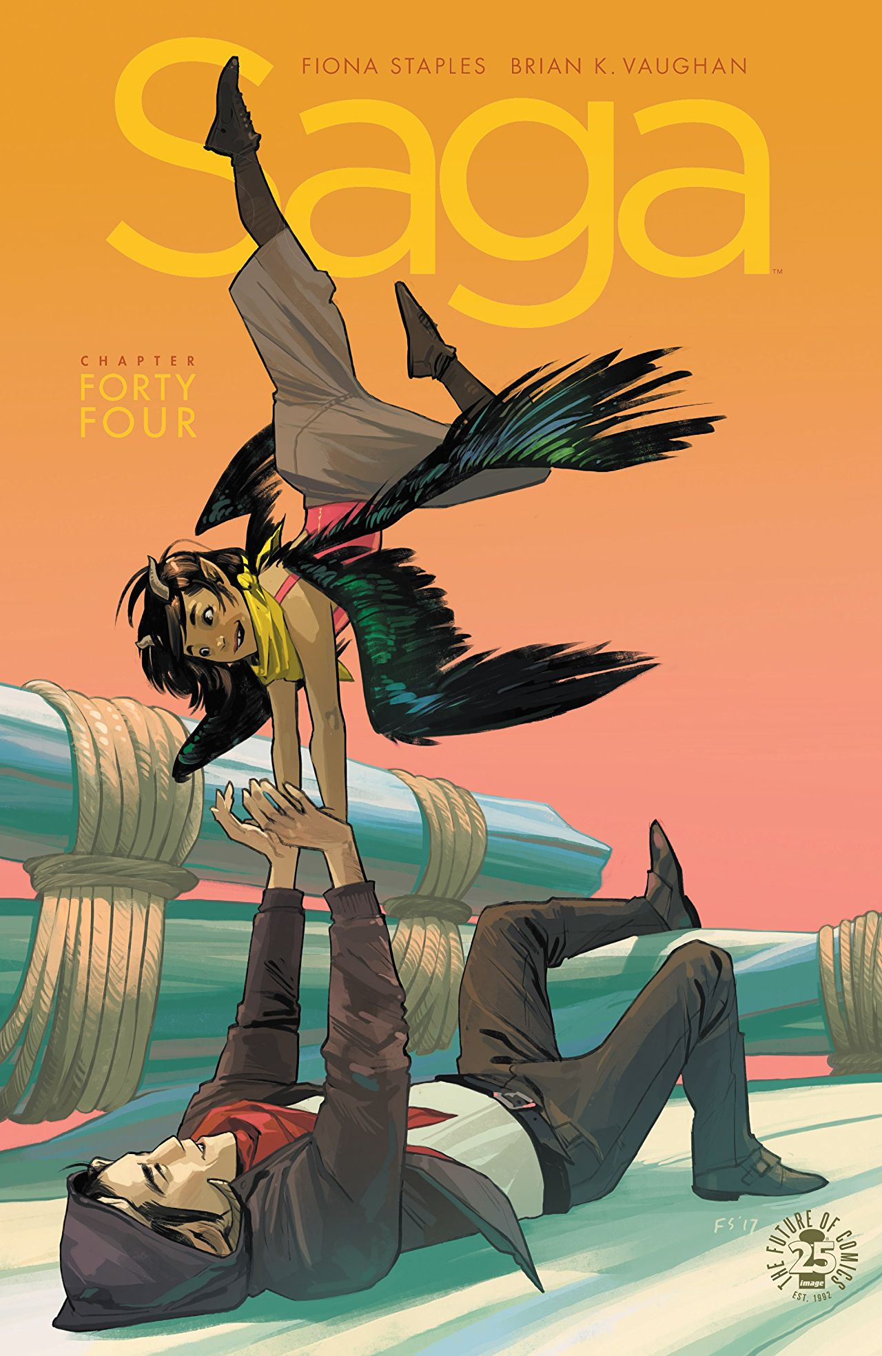 A bird winged young girl poses acrobatically in the arms of an older man who is pushing her up from the ground. This is the cover for Saga.