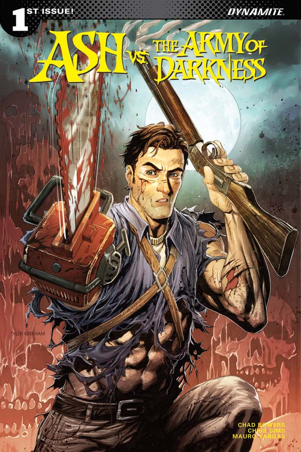 A man with a shotgun, chainsaw for a hand a smirk. This is the cover for Ash and the Army of Darkness 1