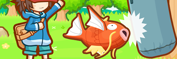 A Magikarp (orange carp like Pokemon) throwing itself bodily at a punching bag with a cartoonish explosion around them, the trainer pointing excitedly at the bag in the background. This is a still from the game Magikarp Jump.