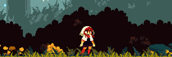 A woman standing in a white hood, facing the camera, her legs in red socks. This is pixel art and is a scene from the game Momodara IV.