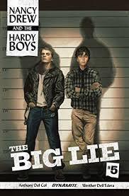The Hardy Boys standing in front of a line-up wall, illuminated with stark constast and large text across the bottom that reads The Big Lie. This is the cover for Nancy Drew and the Hardy Boys; The Big Lie #5