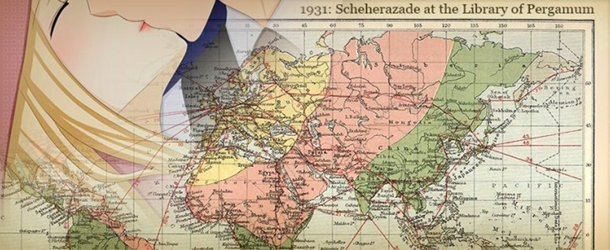 The silhouette of two people kissing in the corner, with a large world map across the middle. This is a still from the visual novel 1931: Scheherazade at the Library of Pergamum