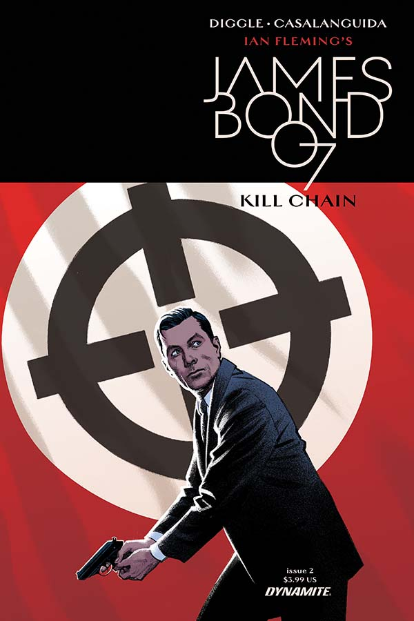 James Bond stands with a slight squat in his knees, a gun pointed at the ready and down to the left. Behind his head is a gun sight painted in black with white circle and in a field of red. This is the cover for James Bond Kill Chain Issue 2.