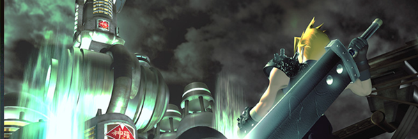 A game still of a yellow haired anime boy with a large sword, facing towards a futuristic green black city. This is from Final Fantasy VII.
