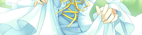 A woman holding up her light blue skirt, the front edged in yellow laces. THis is a still from the game Notch the Innocent Luna.