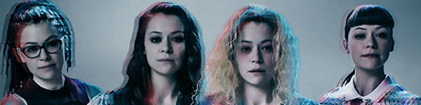 four women, all played by the same woman, slightly out of focus and wiith a blue/red filter overlaid. This is a promotional image for the BBC series Orphan Black.