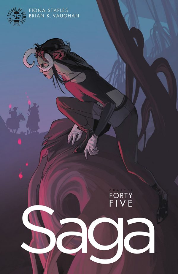 A woman with tiny feet, her horned head looking away towards two approaching figures. This is the cover for Saga 45.