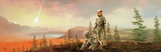two astronauts standing on a green tinged red planet.
