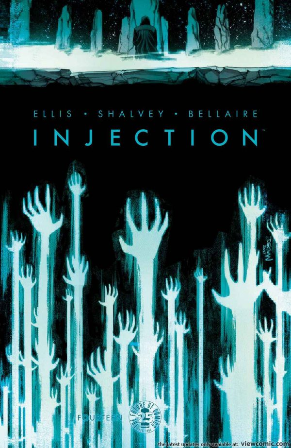 "A series of white hands rising into the air, blue and glowy towards the title which reads ""Injection"""